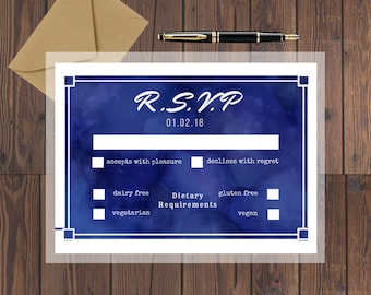 Wedding RSVP Printable Invite / RSVP Printable / Wedding Invitations / Wedding Stationery / Watercolour Invite