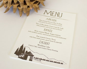 Lake Cabin Menu Cards Woodsy Wedding Custom Handmade Table Setting Outdoor Mountain Forest Set 10