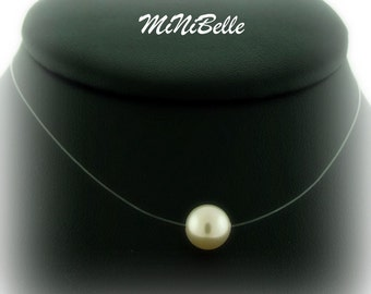 Floating Pearl - Illusion Bridal Necklace - Single Cream Pearl Illusion Necklace - Wedding Jewelry - Floating Pearl Necklace