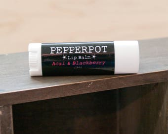 Vegan Lip Balm Acai Blackberry Handmade Lip Balm Bath Beauty Handmade Cosmetics Gift Under 10 Gift For Him Gift For Her Pepper Pot Polish