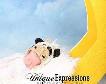 Baby Cow Hat - Baby Cow Costume Hat - Baby Hats - Baby Cow Hat - Cow Hat -Black and White Cow Hat - Calf Hat - by JoJo's Bootique