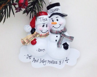 Expecting Parents Personalized Christmas Ornament / New Parents Personalized Ornament / New Baby /  Pregnant / Baby Makes 3