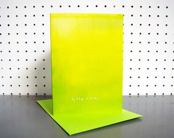 Lime Ombre Good Luck Greetings Card - blank inside - beautifully illustrated gifts - stationery - birthday cards - made in the UK