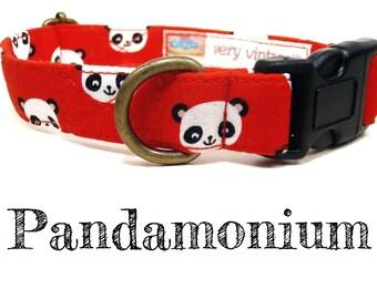 """Red White Black Panda Dog Collar - Asian Dog Collar - Organic Cotton - Antique Metal Hardware - """"Pandamonium"""""""