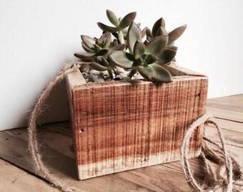 Hanging Wood Planter - Succulent Planter - Reclaimed Wood Planter - Rustic Wooden Planter - Wood Box Planter - Simple Box Planter