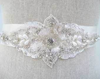 Crystal Bridal Sash, Rhinestone Belt, Beaded Bridal Belt, Prom Sash, Bridal Sash, Bridesmaids Sash, Wedding Dress Sash, Bridal Dress Sash