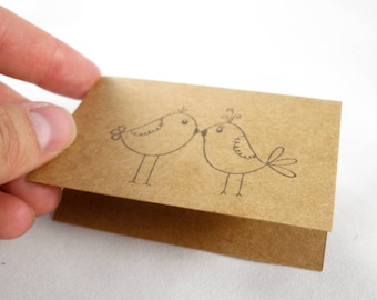 hand stamped custom gift card in white or brown kraft - love birds stamp - wedding, anniversary, engagement, wedding gift card