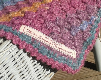 Pinks and Blues Crocheted Baby Blanket, Lap Blanket