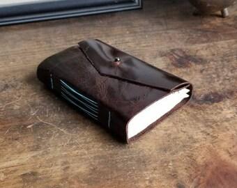 Leather Journal, Dark Brown Hand-Bound 3 x 4.5 Journal by The Orange Windmill on Etsy 1832