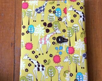Cute Journal - Giraffe Garden Reusable Fabric Covered Composition Book Cover - pen and composition book - fabric covered notebook, journal