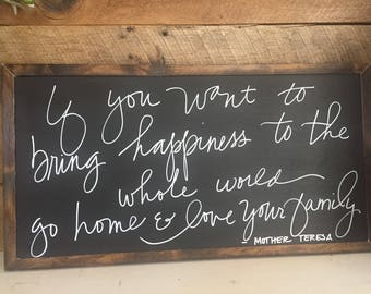 Family sign, FREE shipping, love sign, rustic sign, fixer upper, rustic farmhouse, mother teresa quote, farmhouse sign, joanna gaines