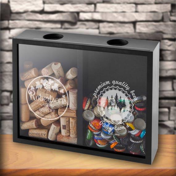 Fun Ways To Display Wine Corks: Personalized Beer Cap Wine Cork Display Shadow Box