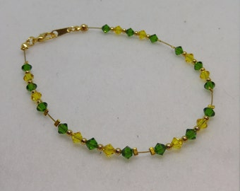 Green and Gold Packer Anklet made with Swarovski Crystals