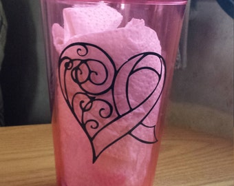 Breast Cancer Awarness Pink Tumbler with Straw
