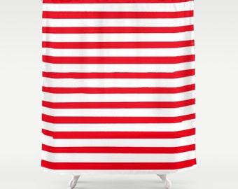 Red Striped Shower Curtain, Kids Bath Curtain, Boys Bathroom Decor, Girls Bath Decor, Fabric Shower Curtain, Housewarming Gifts