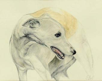 Custom Dog Portrait, Pet Portrait, Custom Dog Portrait Watercolor, Whippet Dog Portrait On Paper, Pet Memorial, 8 x 10 inches