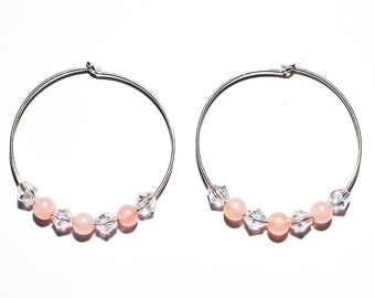 Rose Quartz and Crystal Sterling Silver Hoops (30mm)