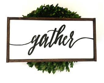 Gather Handcrafted Wooden Sign // Farmhouse Fall Decor // Farmhouse Fall Sign // Rustic Fall Sign // Hand Painted Wood Sign