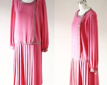 1980s pink drop waist dress // 1980s does 1920s dress // vintage flapper style dress