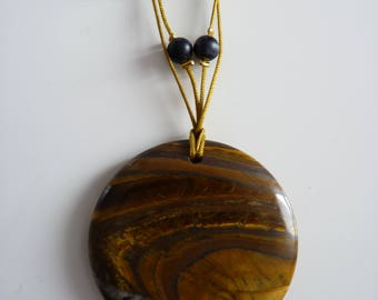Tiger eye and gold wire stone pendant necklace