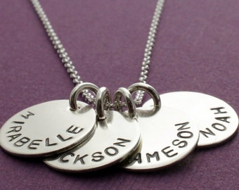 FOUR Name Personalized Necklace in Sterling Silver - Hand Stamped, Engraved Mom Necklace with Four Charms by EWD - Mother's Day Gifts