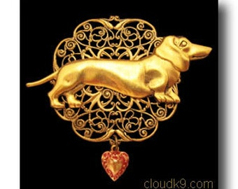Dachshund JEWELRY: Doxie FILIGREE BROOCH Pin. Victorian Inspired. Heart Charm. Gift for Doxie Wiener Sausage Dog Lovers / Women.Victoriana