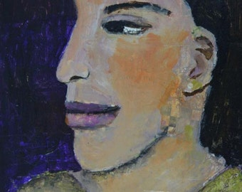 Acrylic Woman Portrait Painting. Mixed Media Collage Art Painting. 8x10 Wall Hanging. Art Gift for Her