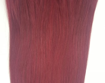 "20"" Weft Hair, 100grs,Weft Weaving (Without Clips),100% Human Hair Extensions # 99J Burgundy Red Wine"