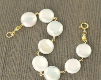 Pearl bracelet white coin pearl bracelet gold filled wire wrapped