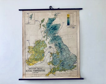Vintage Roll Up Map - British Isles Climate - Circa 1940 - George Philip & Son Ltd. - London Geographical Institute - Winter Weather Map