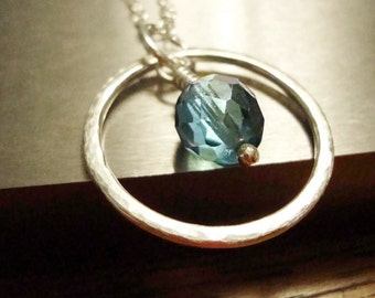 Silver Eternity Necklace - Sterling Silver Aqua Blue Czech Glass Necklace - Handmade Jewelry
