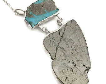 Pyrite and Turquoise Sterling Silver Necklace