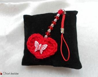Wearable red heart crochet jewelry