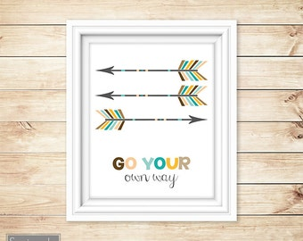Go Your Own Way Colorful Arrows Arrow Tribal Wall Art Nursery Big Boy Room Printable 8x10 Digital JPG Instant Download (39)