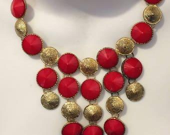 Vintage Textured Goldtone and Red Bib Statement Necklace