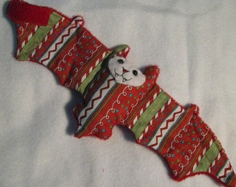 Christmas/Winter Holiday Red lines of candy Bat Coffee Cozy, Cup Sleeve, Stuffed Animal