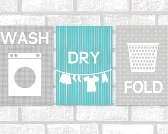 Wash, Dry, Fold, Laundry Room Printable Art [Instant Download] - Grey and Aqua