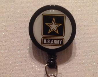 Army Badge Reel - Army Badge - Army Id Holder - Army Id - Army Lanyard - Army Retractable Badge - Retractable - Black - Yellow