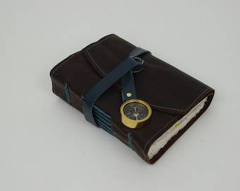 Leather Journal - Handmade paper with leather wrap and compass