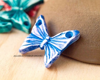 Handmade Rustic Polymer Clay Butterfly Pendant - Blue / Purple