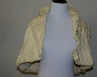 Vintage 1940s Rabbit Fur Capelet, Shawl, Cape