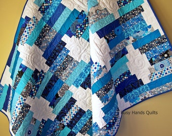 Handmade Lap Quilt-White and Blue-Gift For Her-Throw Quilt-Sofa Quilt-Lap Quilt-Modern Lap Quilt-Beach Decor-Quilts For Sale-Ready to Ship