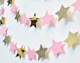 Pink and Gold Twinkle Twinkle Little Star, Paper Garland, Birthday Party Decor, Nursery Decor