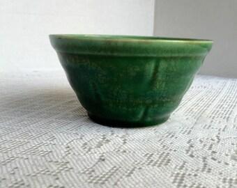 Green Glaze Pottery Vintage Flower Pot Jardiniere Made in USA Basket Weave Pattern Bowl