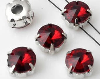 17 with siam red crystal glass metal separators with 2 holes 8 x 6 mm