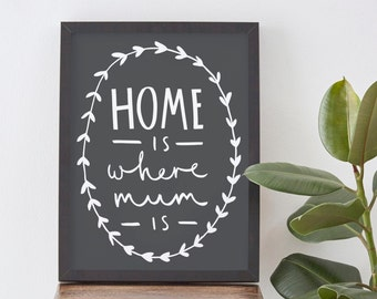 Home Is Where Mum Is Print A4 - home decor