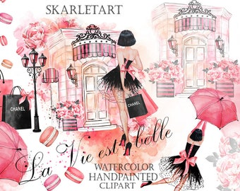 Watercolor Fashion Clipart Shopping ClipartChanel  Shopping Bag Umbrella  laduree Store French macaroons Paris Clipart Planner Supplies