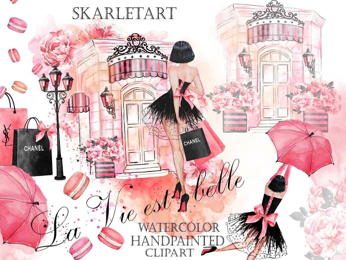 Watercolor Fashion Clipart Shopping ClipartChanel