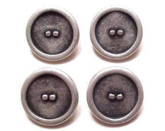 4 buttons round 23 mm silver plated / high quality