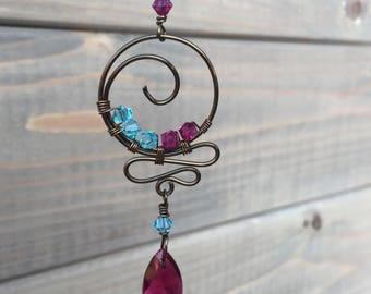 Fuchsia turquoise Rearview Mirror Suncatcher Ornament Accessory Teardrop Swarovski Crystal Unique Christmas Gift stocking stuffer